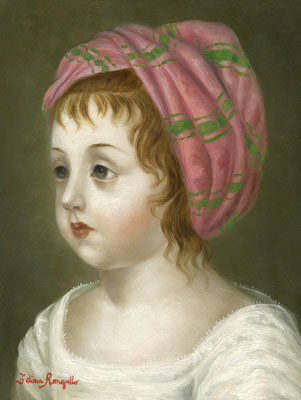 "Fatima Ronquillo, ""Beatrice,"" 2016, oil on panel, 8 x 6 inches, $2,700"