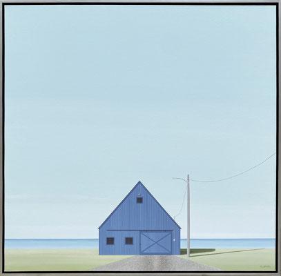 "F.Lipari, ""Marine Shop,"" 2021, acrylic and watercolor pencil on canvas, 40 x 40 inches - SOLD"
