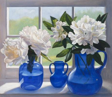 "Denise Mickilowski, ""White Flowers, Blue Glass,"" 2012, oil on panel, 26 x 30 inches"