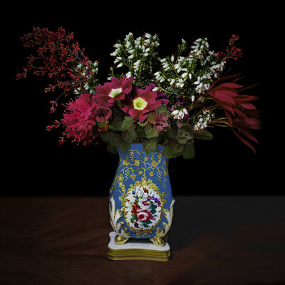 "T.M. Glass, ""Red and White Bouquet in a Sevres Vessel,"" 2020, archival pigment print on hand-made Italian rag paper, Available in: 42 x 42""; 52 x 52""; 58 x 58"", contact for price"