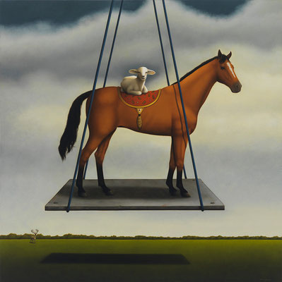 "Deborah Van Auten, ""Dark Horse,"" 2012, oil on linen, 30 x 30 inches, $16,500"