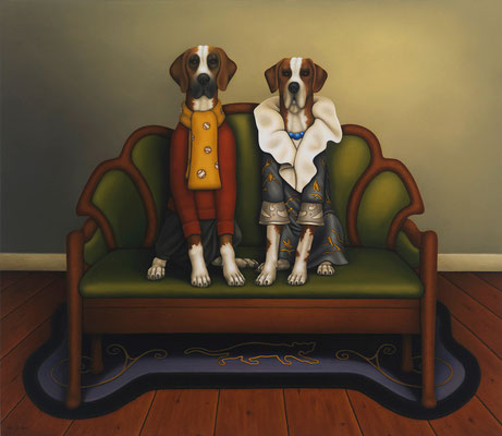 "Deborah Van Auten, ""Dog House,"" 2013, oil on linen, 26 x 30 inches, $15,000"