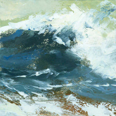 "Teri Malo, ""Watching the Waves Roll In #223,"" 2019, oil on paper, 7 x 7 inches (17 x 17 inches framed), $1,650"