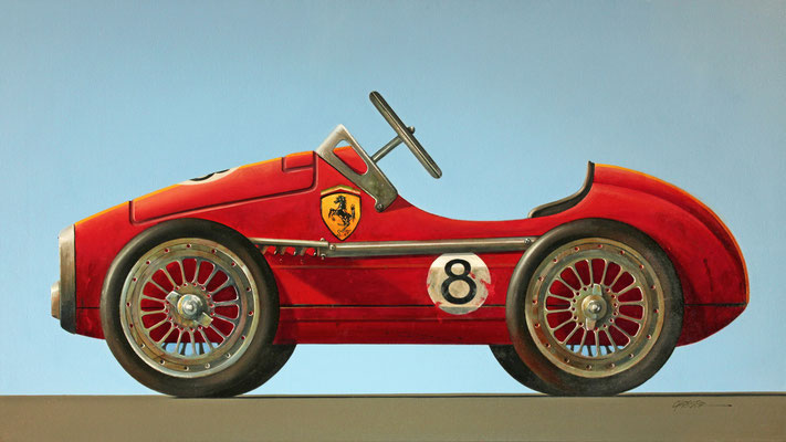 "Wendy Chidester, ""Ferrari No. 8,"" 2020, oil on canvas, 27 x 48 inches - SOLD"
