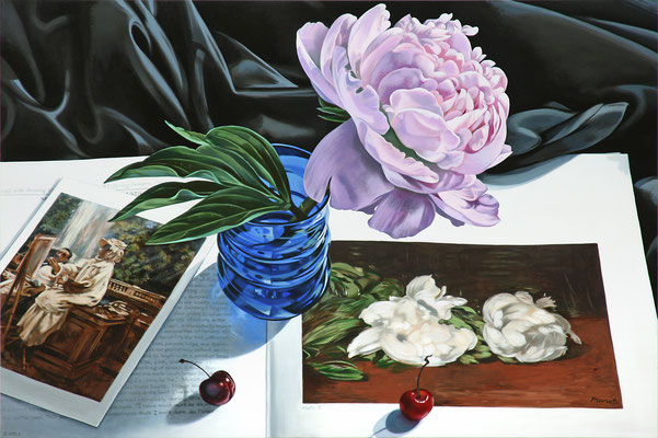 "Sherrie Wolf, ""Artist Painting with Peonies,"" 2017, oil on linen, 24 x 36 inches, $6,700"