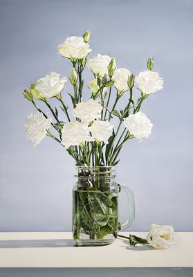 """Alexandra Averbach, """"Jar of Lisianthus,"""" 2019, oil on canvas, 40 x 28 inches, SOLD"""