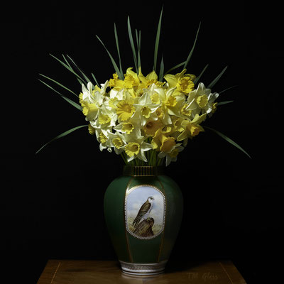 "T.M. Glass, ""Narcissus in a Green Falcon Vessel,"" 2020, archival pigment print on hand-made Italian rag paper, Available in: 42 x 42""; 52 x 52""; 58 x 58"", contact for price"