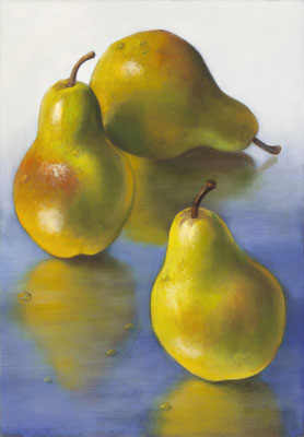 """Denise Mickilowski, """"Three Pears,"""" 2017, oil on panel, 17 x 12 inches, $3,000"""