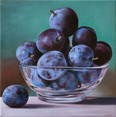 """Sherrie Wolf, """"Plums,"""" 2019, oil on linen, 10 x 10 inches, SOLD"""