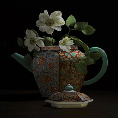 "T.M. Glass, ""Clematis in a Chinese Teapot,"" 2020, archival pigment print on hand-made Italian rag paper, Available in: 42 x 42""; 52 x 52""; 58 x 58"", contact for price"