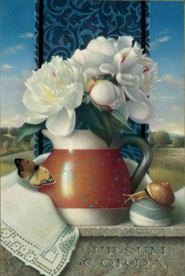 "Koo Schadler, ""Sursum Corda - Peonies in Mexican Jug,"" 2020, egg tempera on true gesso panel, 14 x 10 x 1"" framed, $5,400"