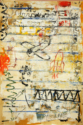 """Bill Fisher, """"Rocket Plane,"""" 2015, oil and cold wax on panel, 40 x 26 inches, $7,300"""