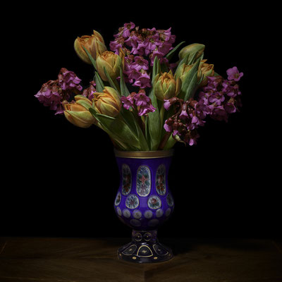 """T.M. Glass, """"Azaleas & Tulips in European Vessel,"""" 2020, archival pigment print on hand-made Italian rag paper, 42 x 42 inches (also available in: 52 x 52""""; 58 x 58""""), contact for price"""