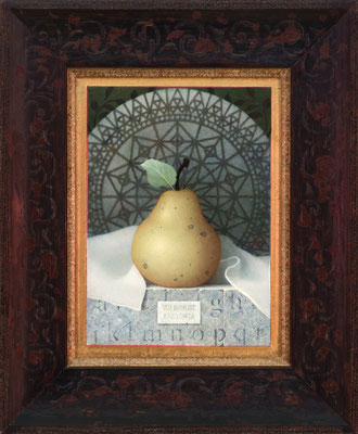 "Koo Schadler, ""Pear, Ars Longa,"" 2016, egg tempera on true gesso panel, 7.5 x 5.5 inches, $2,200"