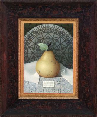 "Koo Schadler, ""Pear, Ars Longa,"" 2016, egg tempera on true gesso panel, 7.5 x 5.5 inches, $2,200"