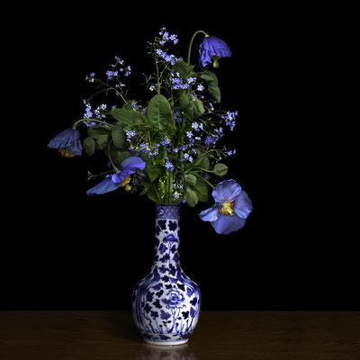 """T.M. Glass, """"Blue Poppy in a Blue and White Chinese Vase,"""" 2020, archival pigment print on hand-made Italian rag paper, 52 x 52 inches (also available in 30 x 30""""; 58 x 58""""), contact for price"""