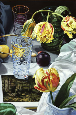 """Sherrie Wolf, """"Tulips with Courbet (Stills),"""" 2013, oil on linen, 24 x 16 inches, $4,200"""
