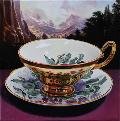 """Sherrie Wolf, """"Teacup 3,"""" 2019, oil on linen, 12 x 12 inches, SOLD"""