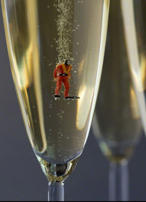 "Christopher Boffoli, ""Champagne Scuba,"" 2020, acrylic-dibond mounted photograph, 36 x 24 inches (also available: 18 x 12, 48 x 32)"