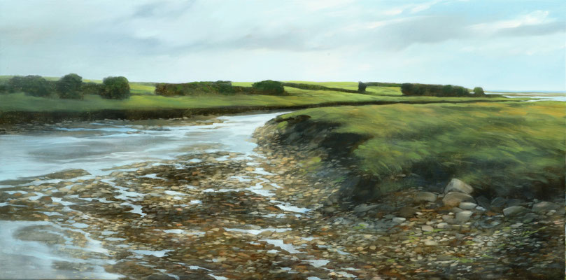 "Teri Malo, ""Salt Marsh Afternoon,"" 2016, oil on panel, 18 x 36 inches, $4,000"