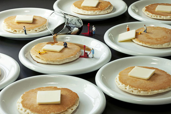 "Christopher Boffoli, ""Pancake Production,"" acrylic-dibond mounted photograph, 24 x 36 inches, (also available: 12 x 18, 32 x 48, 48 x 72)"