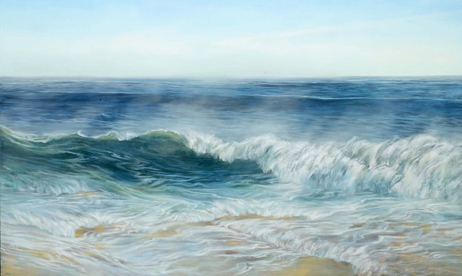 """Teri Malo, """"Brisk Morning,"""" 2019, oil on panel, 36 x 60 inches - SOLD"""