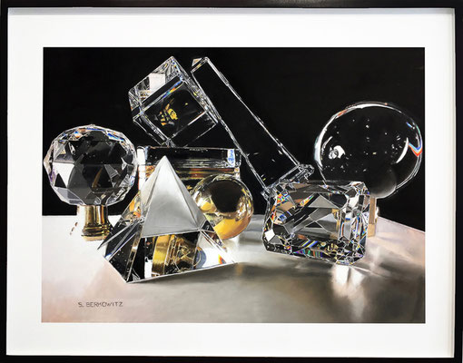 "Sheldon Berkowitz, ""Crystal, Brass and Refracted Light,"" pastel over watercolor on paper, 28 x 39 inches, (framed size: 38 x 49 inches), $15,000"