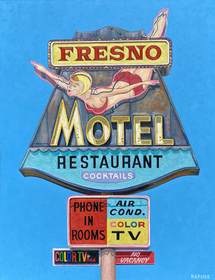 """Will Rafuse, """"Fresno Motel,"""" 2021, oil on canvas, 48 x 36 inches, $9,000"""