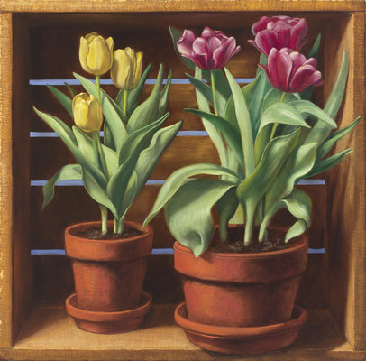 "Denise Mickilowski, ""Two Pots of Tulips,"" 2012, oil on panel, 25 x 25 inches, $11,000"
