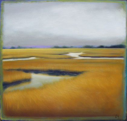 "Margaret Gerding, ""Golden Marsh,"" 2015, oil on panel, 30 x 30 inches, $5,000"