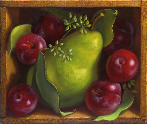 "Denise Mickilowski, ""Pear with Little Red Plums,"" 2012, oil on panel, 9 x 11 inches"