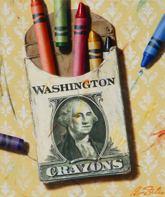 """Ben Steele, """"The Colors of Money: Washington,"""" 2020, oil on canvas, 24 x 20 inches, $3,600"""