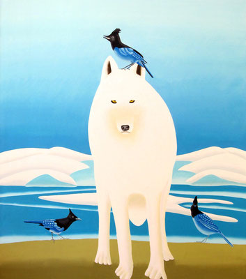"Jain Tarnower, ""Arctic Wolf and the Three Steller's Jays,"" oil on canvas on panel, 50 x 44 inches, SOLD"