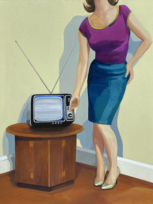 """Leslie Graff, """"A Clearer Picture,"""" 2021, acrylic on canvas, 40 x 30 inches, $6,000"""