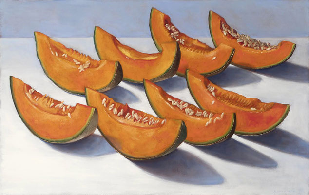"Denise Mickilowski, ""Cantaloupe Slices,"" 2017, oil on canvas, 24 x 38 inches"
