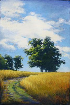 "Margaret Gerding, ""Summer Path,"" 2015, oil on panel, 36 x 24 inches, $5,000"