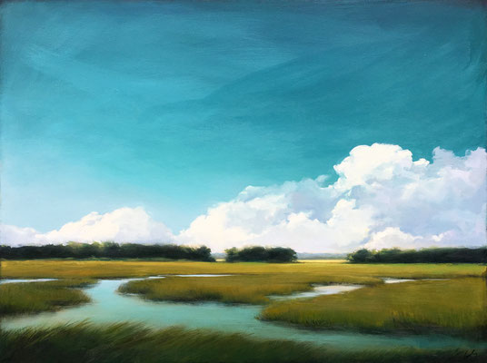 "Margaret Gerding, ""Viridian Sky,"" 2018, oil on canvas, 30 x 40 inches, $6,500"