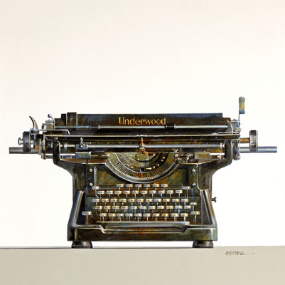"Wendy Chidester, ""Underwood Typewriter,"" 2021, oil on canvas, 24 x 24 inches - SOLD"