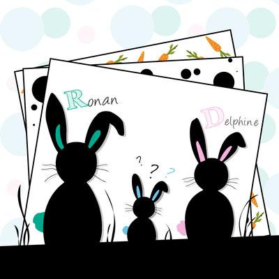 Création d'un faire-part de naissance - Thème : Famille lapin - Naissance garçon