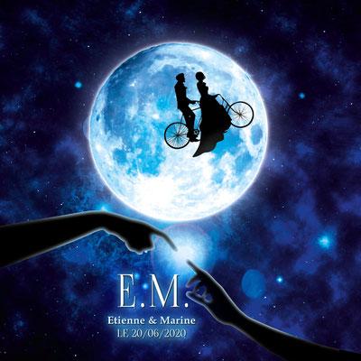 Création d'un faire-part de mariage - Thème : E.T. l'extra-terrestre
