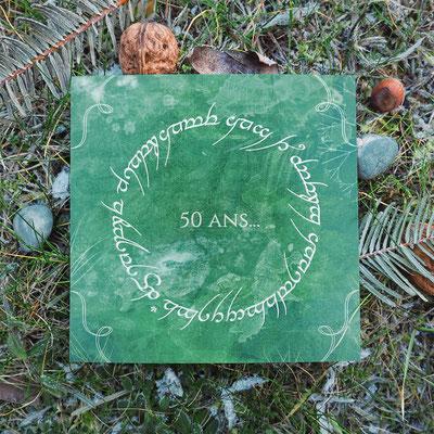 Création d'une carte anniversaire - Thème : Le Seigneur des Anneaux (photo nature)