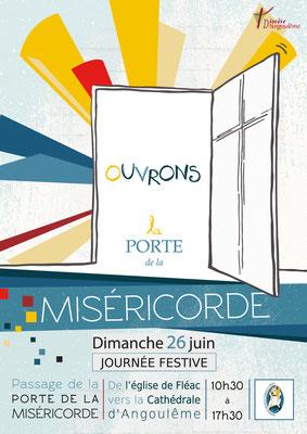"""Réalisation d'un flyer pour l'événement """"Ouvrons la porte de la misericorde"""" - Doyenné Angoulême Ouest"""