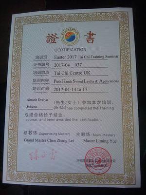 Zertifikat vom Chen-Zhenglei- Intensivseminar Manchester 2017