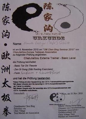 Lehrerzertifikat von Meister Chen Bing 2010