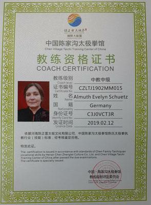CZL Coach, chinesische Stufe 5 v. 9, weltweite Anerkennung ( Anforderungen siehe HP-Rubrik Ausbildung)