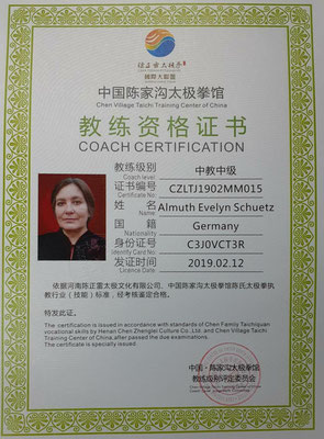 Lehrzertifikat der chinesischen CZL- Zentrale, chin. Stufe 6 v. 10, weltweite Anerkennung ( Anforderungen siehe HP-Rubrik Ausbildung)