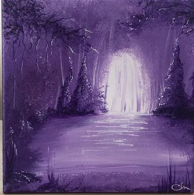 toile peinte clairiere et sous bois