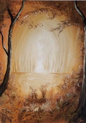 peinture paysage enneigé 30 X 40