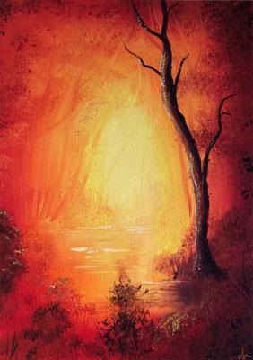 toile peinte d'arbres 30 X 40