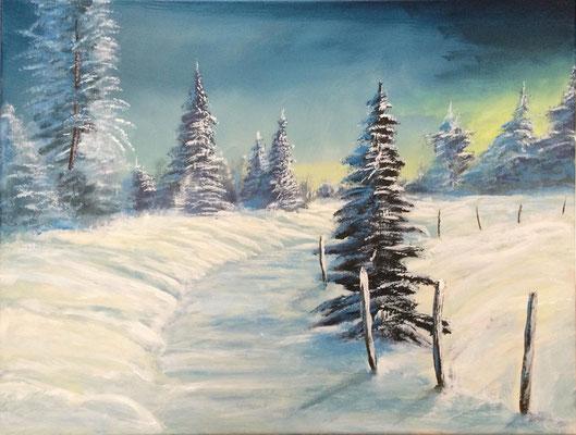 peinture paysage de neige